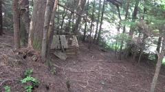Log cabin low angle Stock Footage