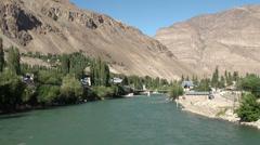 Khorog town in Tajikistan Stock Footage
