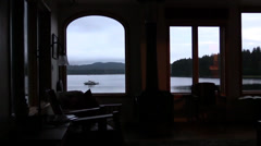 Window , boats in the bay Stock Footage