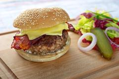 Cheese hamburger Stock Photos