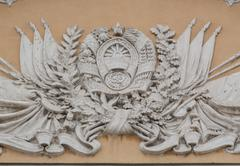 Balelef on the facade of the kyrgyz opera and ballet theatre named after a. m Stock Photos