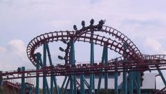 Roller Coasters, Amusement Parks - stock footage