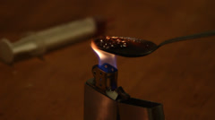 Cooking Drugs With Zippo Stock Footage