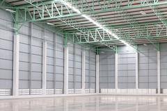New empty warehouse for customer rent Stock Photos