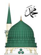illustration of al-masjid an-nabawi - stock illustration
