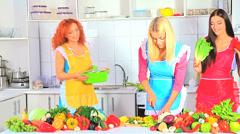Group women preparing food at kitchen. Stock Footage