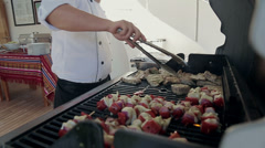 Chef cooks food on ship 2 Stock Footage