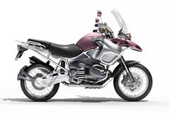 dual-sports motorcycle close-up - stock photo
