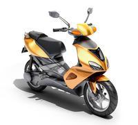 Trendy orange scooter close up Stock Photos