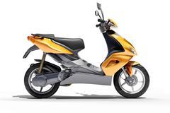 trendy orange scooter close up - stock photo
