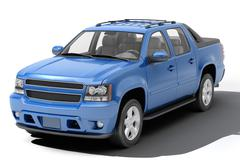 blue pickup - stock photo