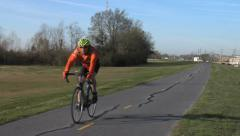 Cycling On Mississippi River Trail - MRT- Levee 3 Stock Footage