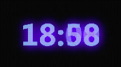 Blue digital countdown timer, glowing over dark background (hd, high definition) Stock Footage