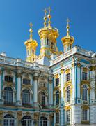Golden domes with crosses of catherine's palace in tsarkoie selo, russia Stock Photos