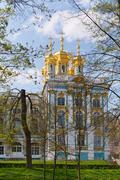 dome of russian orthodox church of catherine palace - stock photo