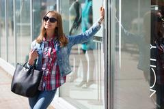 Young beautiful stylish girl in sunglasses Stock Photos
