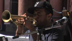 Trumpet Player In Street Band - New Orleans - stock footage