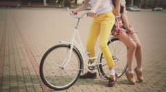 Nice young couple of model on vintage bike Stock Footage