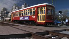 Stock Video Footage of New Orleans Riverfront Streetcar 4