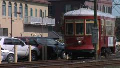 New Orleans Riverfront Streetcar 1 Stock Footage