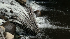 African fish net basket in river waterfall HD 9068 Stock Footage