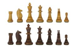 Vintage wooden chess set pieces isolated Stock Photos