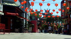 Chinatown Street With Tourists, Shops, Restaurants Stock Footage