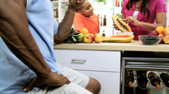 Healthy Lifestyle African American Family Fresh Fruit Stock Footage