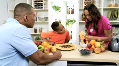 Healthy African American Family Kitchen Fresh Fruit Stock Footage
