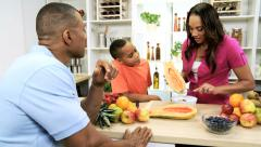 Fresh Organic Fruit Modern African American Family Stock Footage