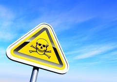 Danger skull sign against the sky Stock Illustration
