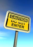 """""""Caution - do not enter"""" sign against the cloudy sky - stock illustration"""