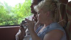 Romantic couple take breakfast sandwich train travel feeding, happy, enjoy Stock Footage