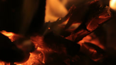 Burning Wood Glowing in Fire - 29,97FPS NTSC Stock Footage