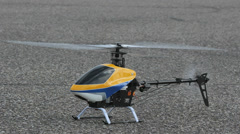 RC Helicopter flies away, Closeup Stock Footage