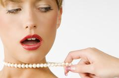 necklace pearl - stock photo