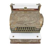 vintage cash register isolated with clipping path - stock photo