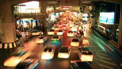 Bangkok city traffic jam at night Stock Footage