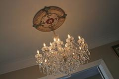 Antique Chandelier with Medallion Stock Photos