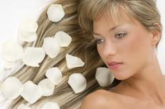 blond hair white petals - stock photo