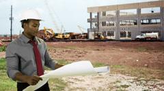 Architect working on the jobsite Stock Footage