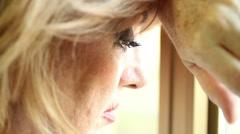 Desperate woman, depressed woman, sad woman, melancholy woman - stock footage