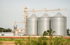 The silo in animal food production Stock Photos
