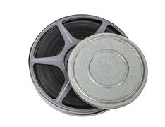 Film reel and can isolated Stock Photos