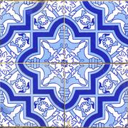 vintage portuguese blue tiles - stock photo