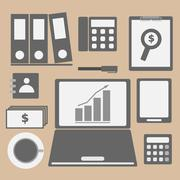internet investor at home office icon - stock illustration