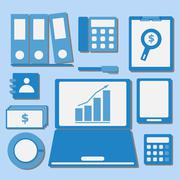 internet investor at home office color icons - stock illustration