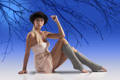 stunning dancer girl on stage - stock photo