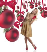 elegant young woman celebrating christmas - stock photo