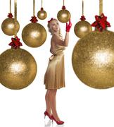 Beautiful elegant girl in golden dress Stock Photos